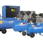 Compressori alternativi a pistoni - Gruppi compressori - Compressori su basamento - Compressori su serbatoio e a pistoni silenziati