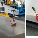 Il sollevatore Max-X/TG rende possibile il sollevamento unitario da pacco di lamiera a partire da 5mm di spessore accoppiando 2 sollevatori al dispositivo MFB